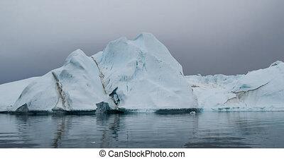 groenland, iceberg, nature, glacier, arctique, -, vidéo, aérien, paysage