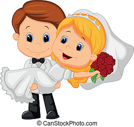groo, jouer, dessin animé, mariée, gosses