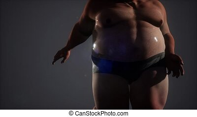 gros homme, stidio, mouillé