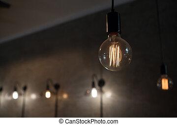gros plan, éclairé, ampoule