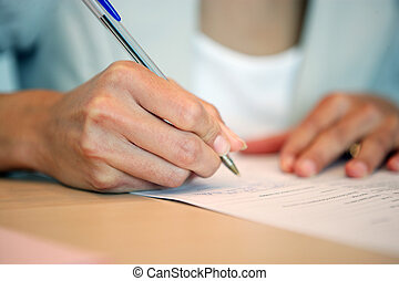 gros plan, écriture femme