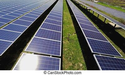 gros plan, aérien, sur, surface, panneaux solaires, vue