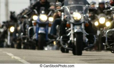 gros plan, bikers., -, hd