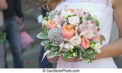 gros plan, bouquet, mariée, tenue, dehors, nuptial