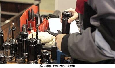 gros plan, détail, outillage, industriel, workshop., mesurer, mécanique, ouvrier