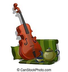 gros plan, ensemble, tissu, thé, isolé, composition, arrière-plan., vecteur, vert, violon, blanc, rayé, dessin animé, illustration.