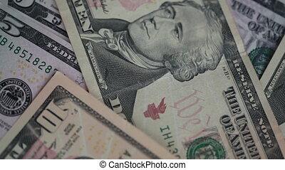 gros plan, factures, dénombrement, quelqu'un, dollars