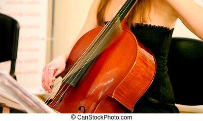 gros plan, femme, jeux, violoncello