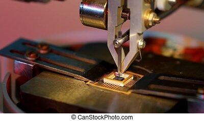 gros plan, fil, bonder, universel, travail, équipement, microélectronique