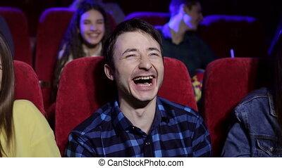 gros plan, film, jeune, theater., rire, portrait, homme