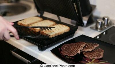gros plan, grill., électrique, virages, main, femme, lumière, pain