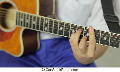 gros plan, guitare, studio, fond, professionnel, blanc, jouer