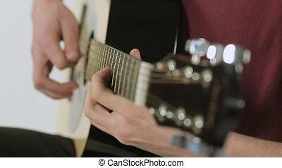 gros plan, guitariste, studio, jouer