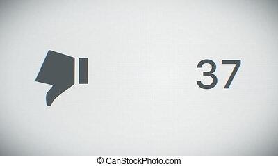 gros plan, hd, business, animation., compteur, dislikes, rapidement, 4k, increasing., devant, vue., ultra, technologie, concept., 3840x2160., 3d