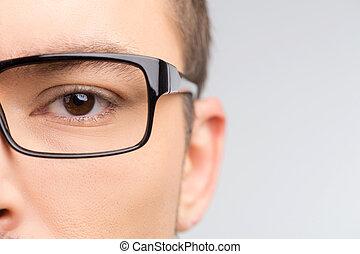 gros plan, image, isolé, glasses., tondu, blanc, homme, lunettes