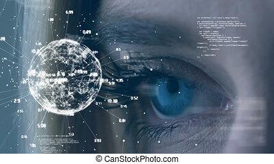 gros plan, la terre, yeux bleus, numérique, regarder, tourner, globe