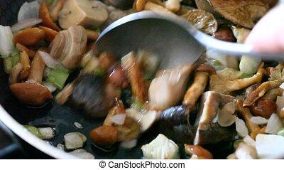 gros plan, oignon, délicieux, frit, moule, friture, champignons