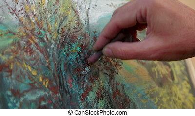 gros plan, peintre, craies, dessin, paysage, image, automne, footage.