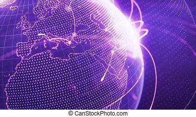 gros plan, réseau, particule, pourpre, global, -, croissant, mondiale, boucle