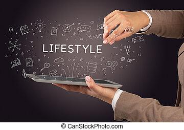 gros plan, social, concept, touchscreen, média