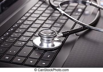 gros plan, stéthoscope, clavier portable
