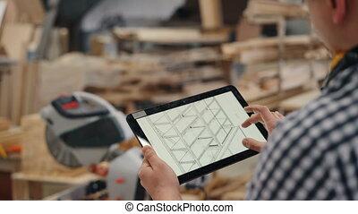 gros plan, tablette, travail, regarder, conception, menuisier, utilisation, meubles