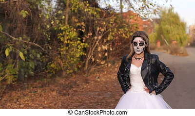 gros plan, terrifiant, gothique, make-up., portrait mariage, girl, robe