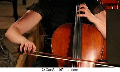 gros plan, -, timelapse, orchestre, violoncello, vue