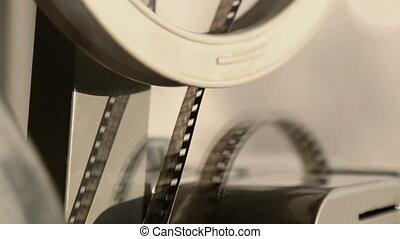 gros plan, vieux, projection, projecteur cinématographique