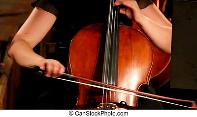 gros plan, violoncello, orchestre, vue