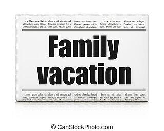 gros titre journal, concept:, vacances, famille