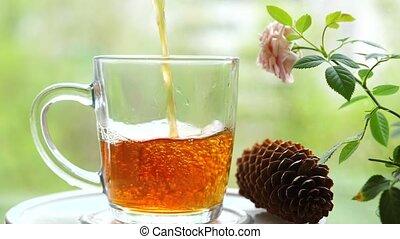 groseille, citron hôtel monnaie, framboise, dehors, verre, baume, cup.tea, partie thé, verser, feuilles