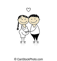 grossesse, attente, parents, bébé, heureux