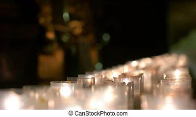 groupé, rang, ensemble, brûlé, bougies