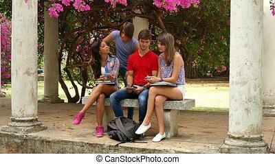 groupe, étudiants, étudier, conversation, collège, amusement, avoir