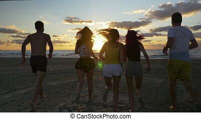 groupe, amis, jeune, eau, courant, plage coucher soleil