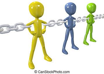 groupe, chaîne, gens, unir, divers, lien, fort