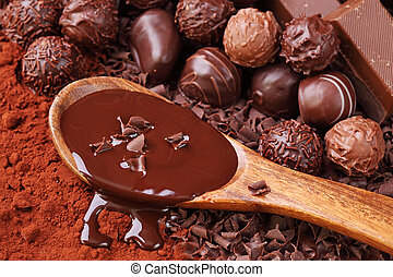 groupe, chocolat