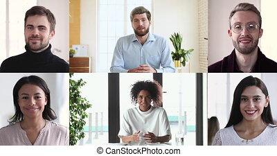 groupe conversation, business, visioconférence, gens, divers, collage, vidéo