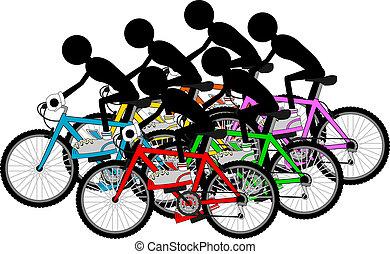 groupe, cyclistes