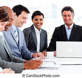 groupe, divers, réunion, business