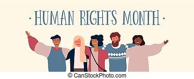 groupe, droits, divers, humain, international, ami