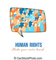 groupe, droits, gens, parole, humain, buble