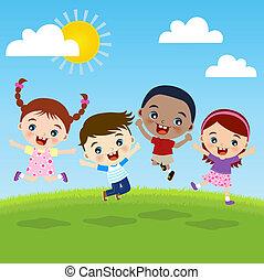 groupe, enfants, bonheur