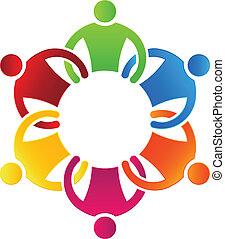 groupe, equipe affaires, 6, icône, design.
