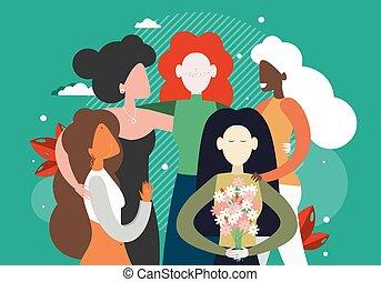 groupe, féministes, divers, ensemble, illustration., plat, féminisme, course, femmes, vecteur, étreindre, égalité, habilitation