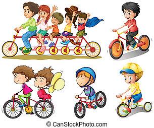 groupe, faire vélo, gens
