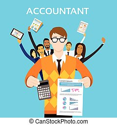 groupe, finance, gens, calculatrice, exposition, comptable, équipe