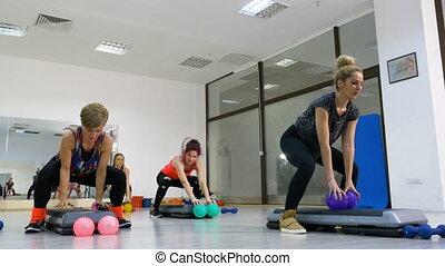 groupe, fonctionnement, âge, stepper, milieu, séance, femmes, gymnase, dehors