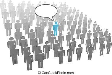 groupe, foule, compagnie, personne, individu, parole, social